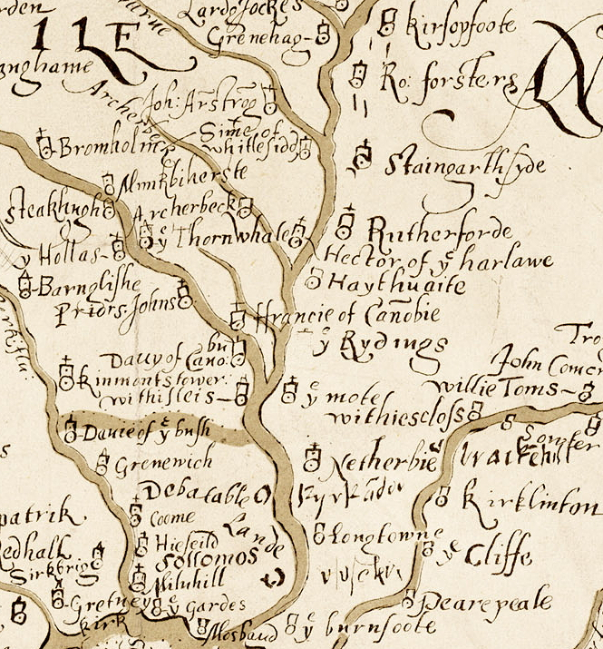 A section of the 1590 Aglionby Platt. Image reproduced by permission of the National Library of Scotland