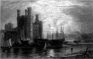 Old picture of Eagle Tower Caernarvon Castle