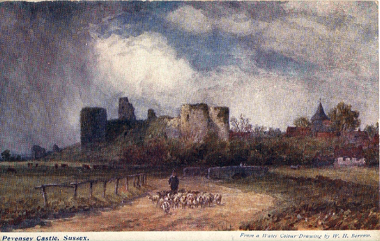 Old Postcard of Pevensey Castle, before site cleared.